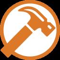 Petite icône marteau de travaux