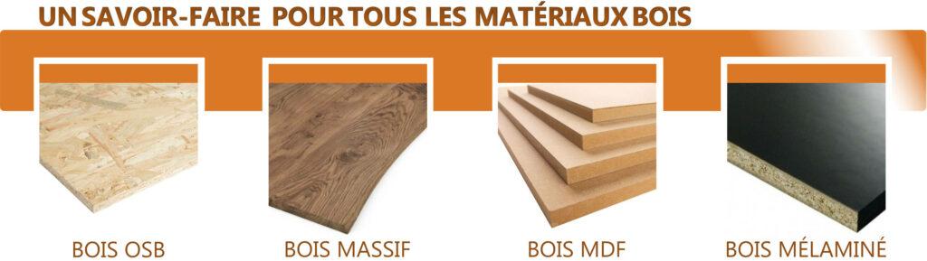 Votre artisan menuisier travaille avec tous les matériaux bois (osb, mdf, mélaminé, agglo, etc)